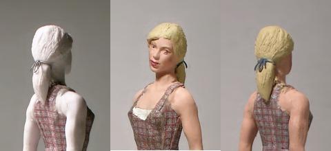 gro bild drei ansichten figur mit pferdeschwanz und haarband. Black Bedroom Furniture Sets. Home Design Ideas